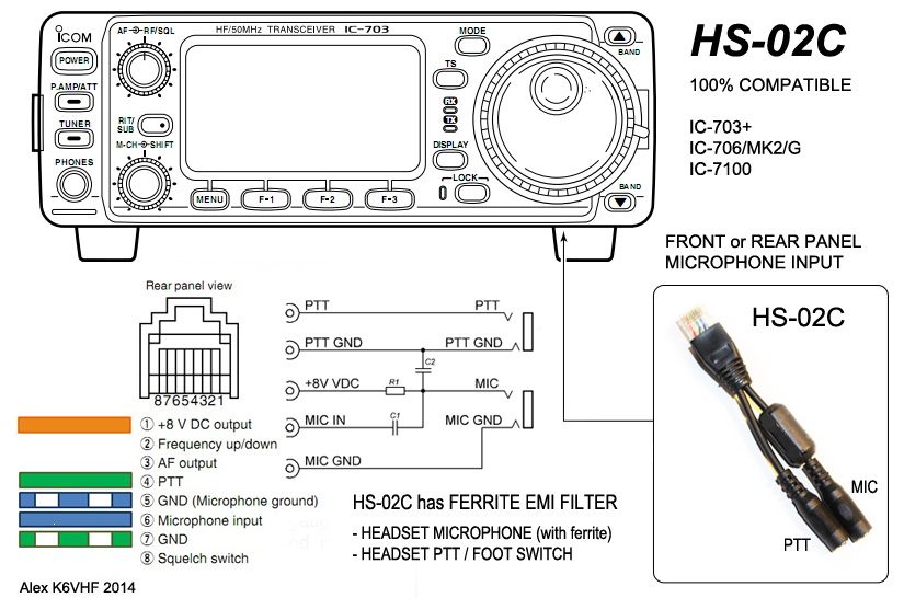 8p8c mic  headset adapter hs