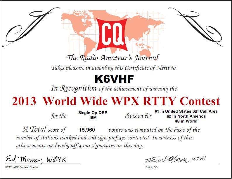 CQ WW WPX RTTY Contest 2013