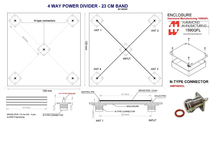 4-way power divider. Click to enlarge.